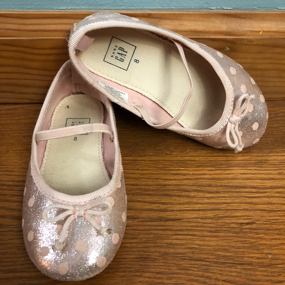 7 8 11 BABY GAP Silver Metallic Bow Ballet Flats Dress Shoes Toddler Girl NWT